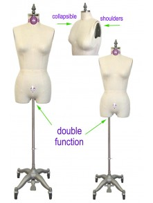 Dress form Industry Grade Female Half Body Dress Form with Legs and Collapsible Shoulders (601A)