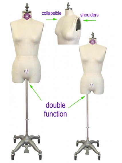 dress form Industry Grade Female Half Body Dress Form with Partial Legs and Collapsible Shoulders (601A)