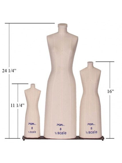 Education Miniature Dress Form in 3 Scale Set  (#615, 1/2 scale, 1/4 scale, 1/8 scale)