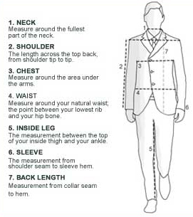 How to measure PGM Young Men Dress Forms