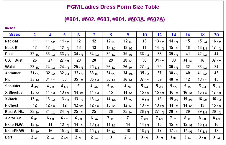 PGM Dress Forms Size Table