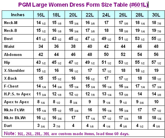 PGM Large Women Dress Form Size Table