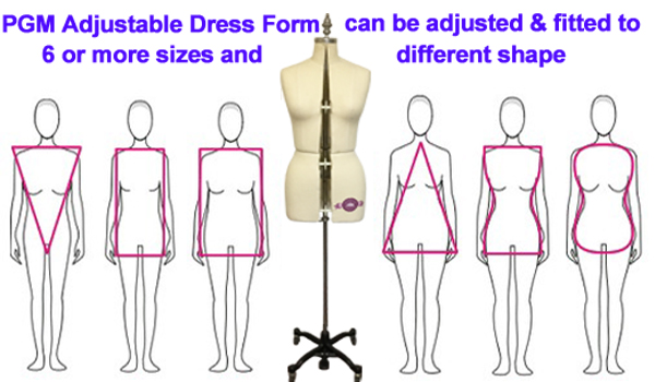 Different Body Shape Dress Forms, Adjustable Dress Form