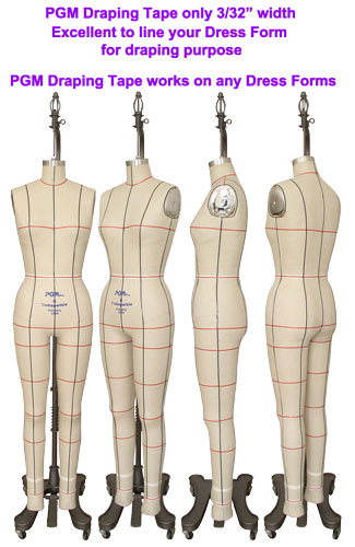 Line up your half body dress form and full body dress form by PGM Professional Draping Tape