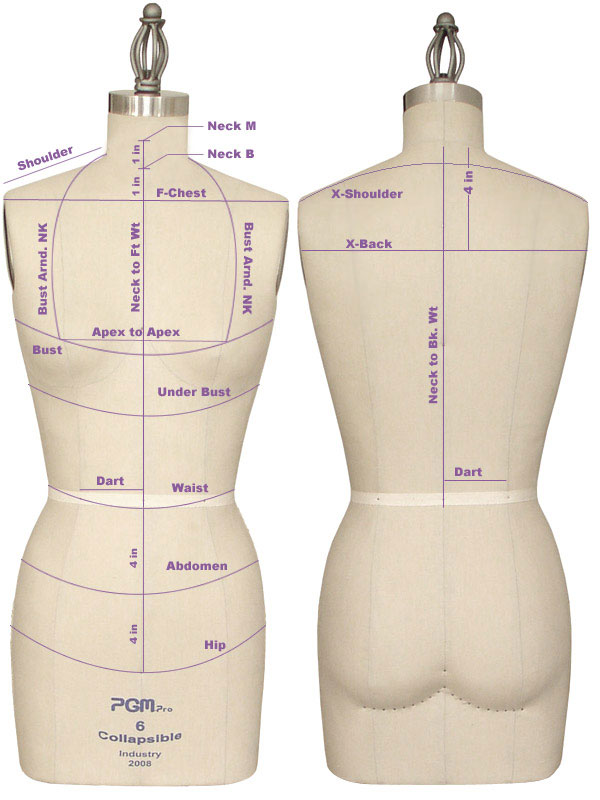 Fashion Design Dress Forms PGM Dress Form Measurement