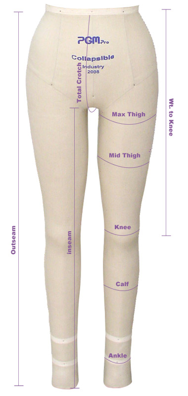 PGM Pants Dress Form Measurement