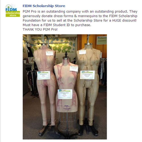 PGM Dress Form Education Sponsor FIDM