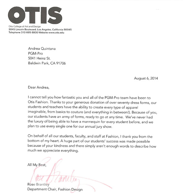 PGM Dress Form OTIS Thanks Letter