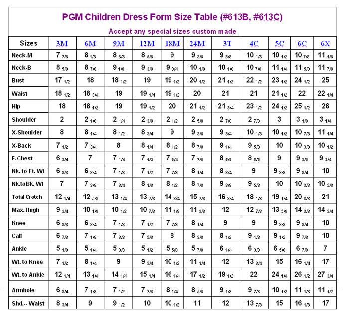 Children S Size Chart Crochet Stitches And Tutorials