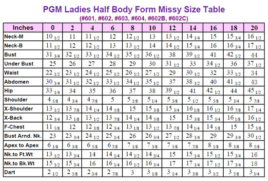 Missy Dress Form with Hip (Industry Grade 601 ) | pgmdressform.com