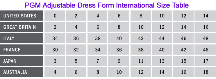 PGM Adjustable Dress Form Internation Size Table Measurement Chart