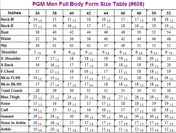 PGM Male Full Body Dress Form Size Table